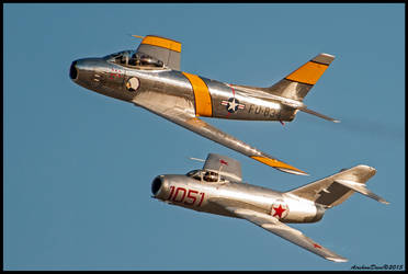 F-86 Sabre - Mig 15 Twilight Show by AirshowDave