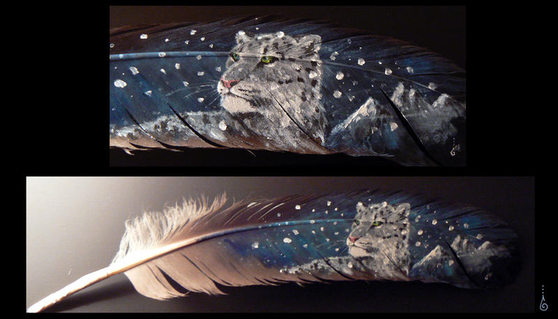 SnowLeopard - feather painting