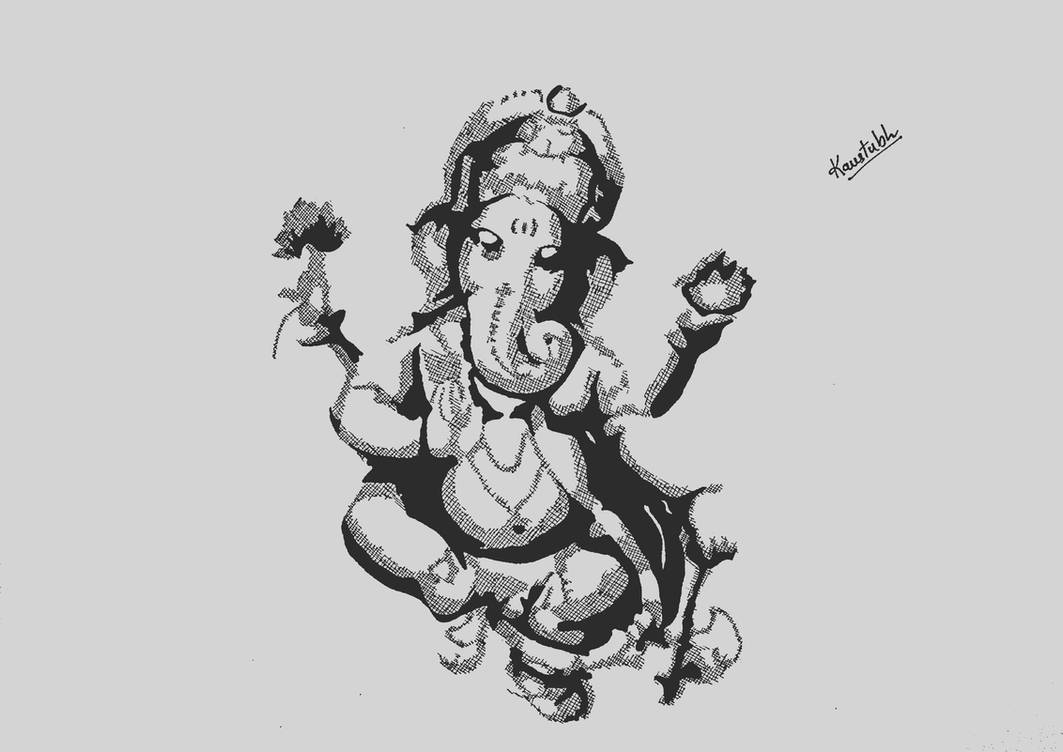 Lord ganesha sketch by kaustubh1605