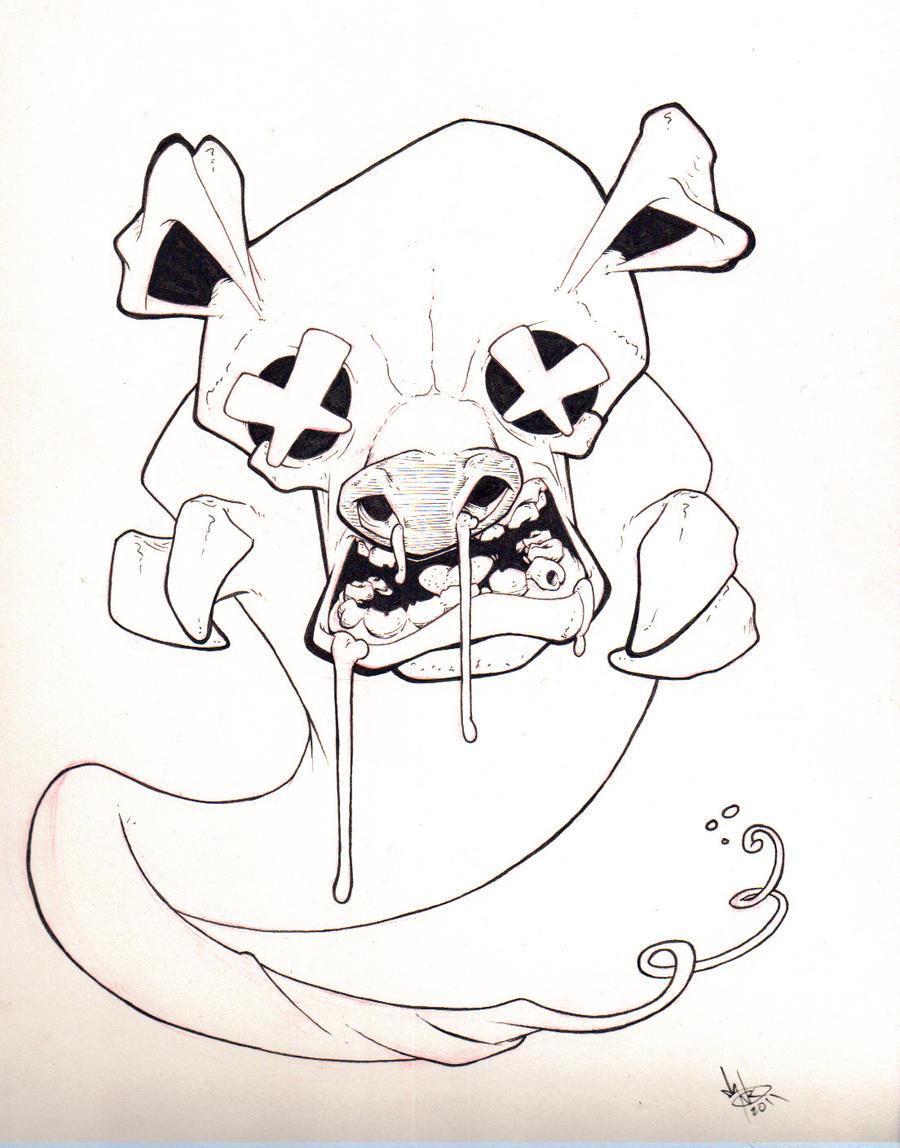 Ink Ghost Pig by KermitLGonzalez