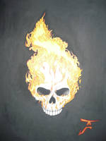 flaming skull by altsy