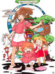 Chihiro, Ponyo and Mei - Crossover Ghibli (SC)