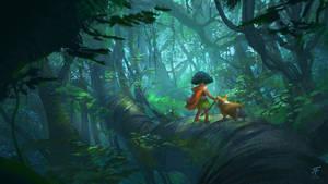 Corgi in the jungle
