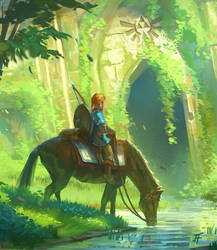 Link and the Forest Temple detail 1