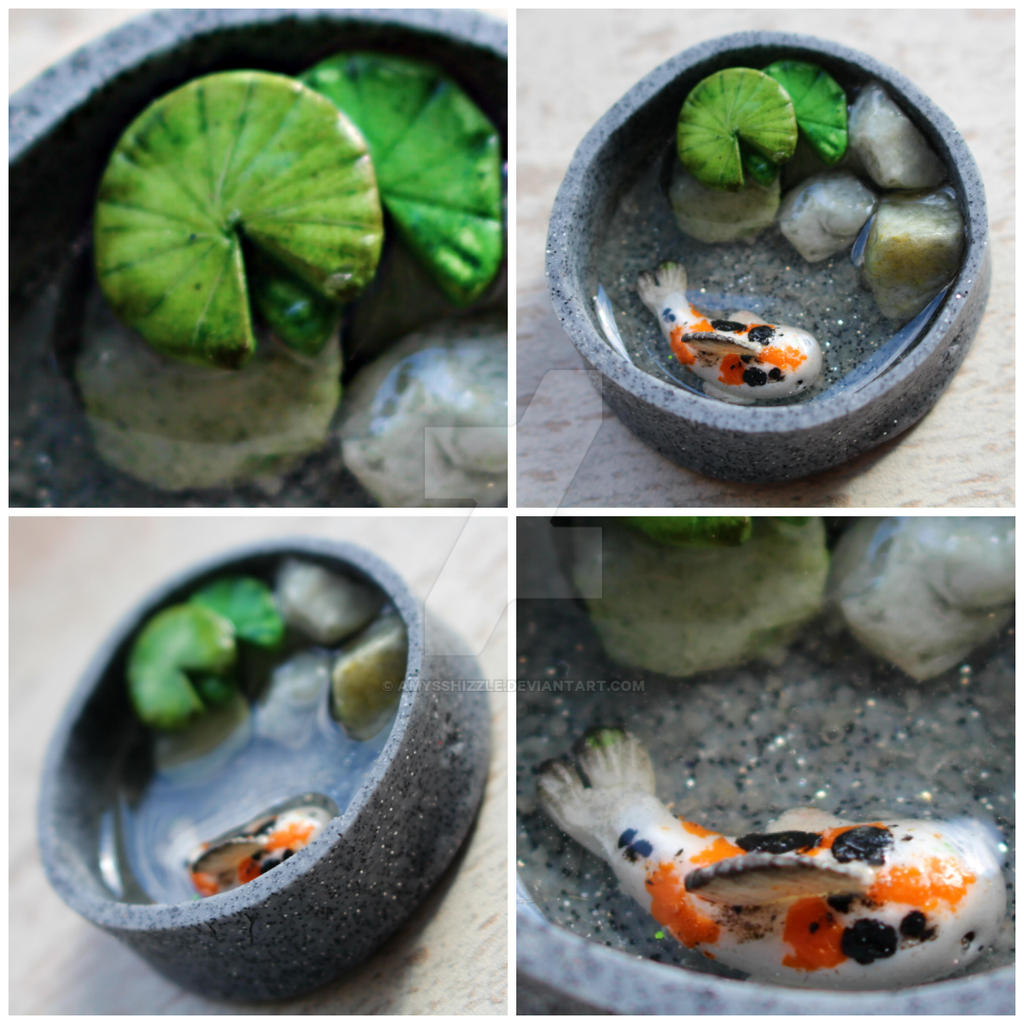 Koi fish pond by amysshizzle on deviantart for Clay fish pond