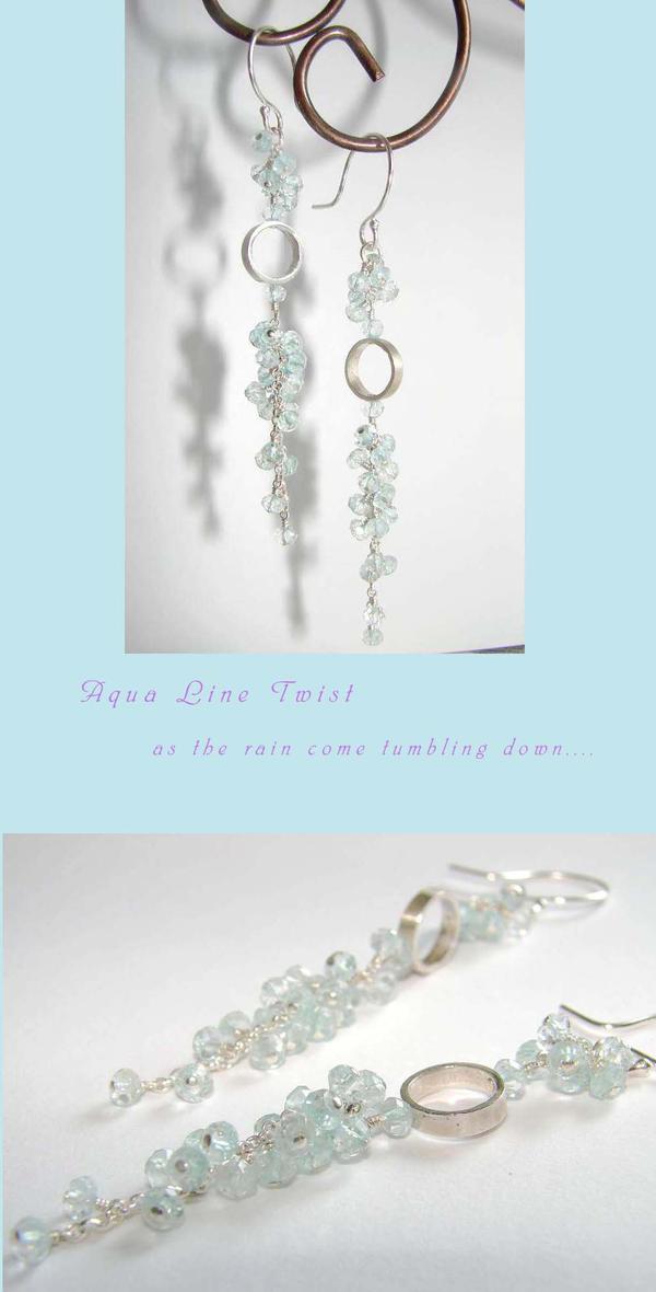 Aqua Linear Twist Earrings by CrysallisCreations