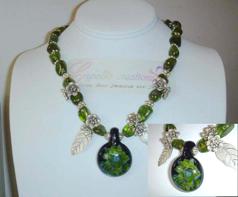 Boro with Peridot Necklace by CrysallisCreations