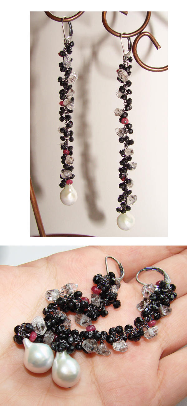 Black night cluster earrings by CrysallisCreations