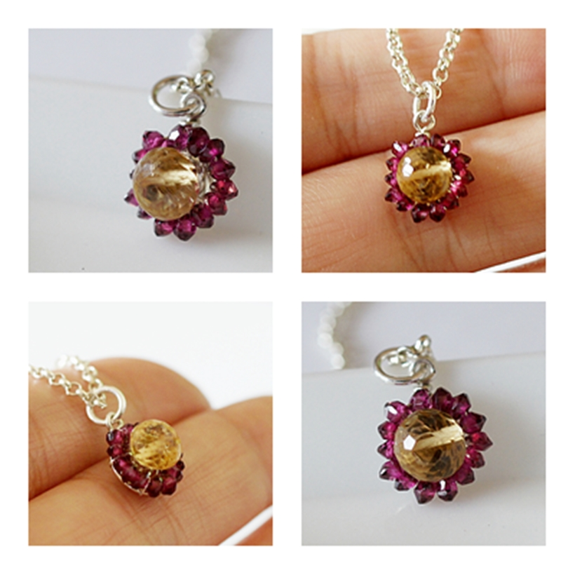 Citrine + Garnet charm by CrysallisCreations