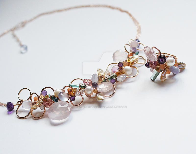 Naive in bubbles Gemstone Necklace and Ring by CrysallisCreations