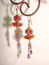 Boro + Amethyst earrings by CrysallisCreations