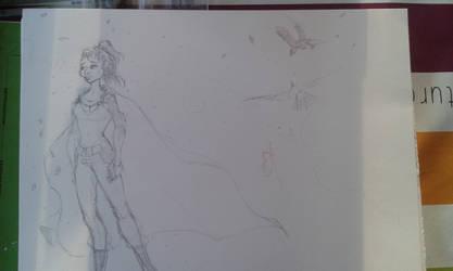 lady with birds in progress