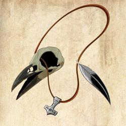Crow skull tattoo concept