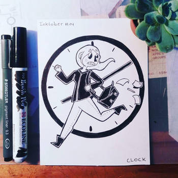 Inktober #14 : clock by Ahzirra