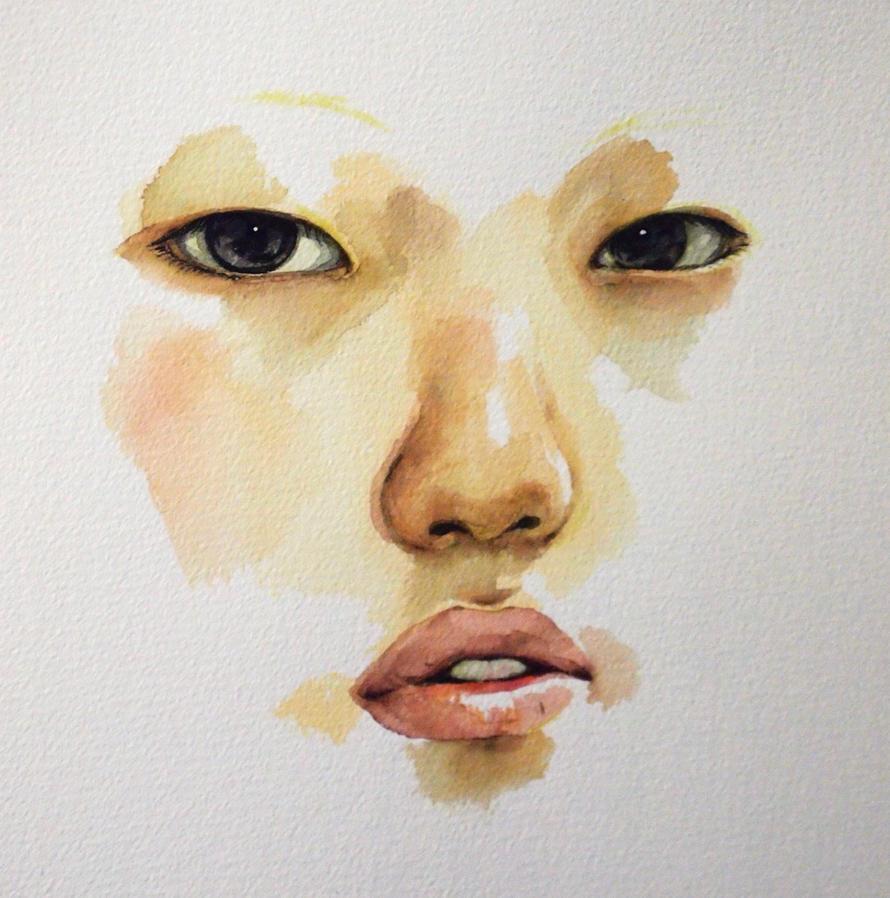 Self Portrait in watercolor by zerostates