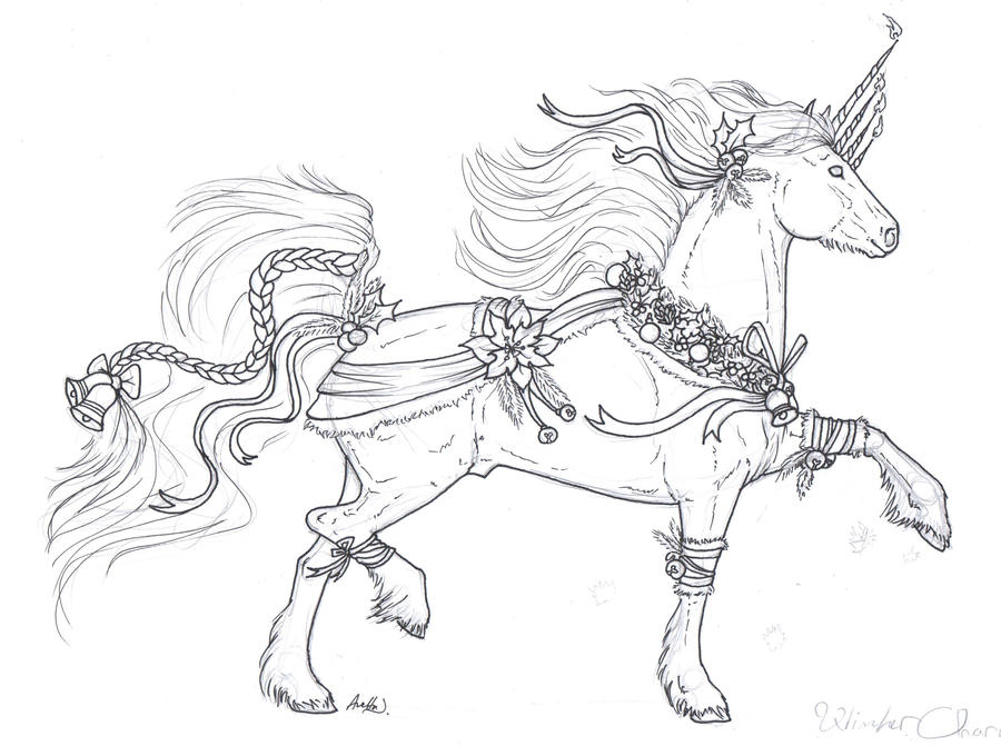 Lineart christmas free to use by black veil illusion on for Christmas horse coloring pages
