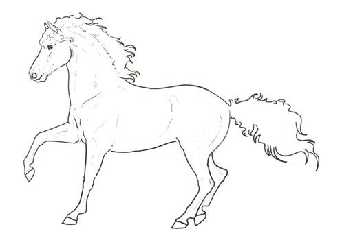 Lineart: Curly Horse (Free-To-Use)
