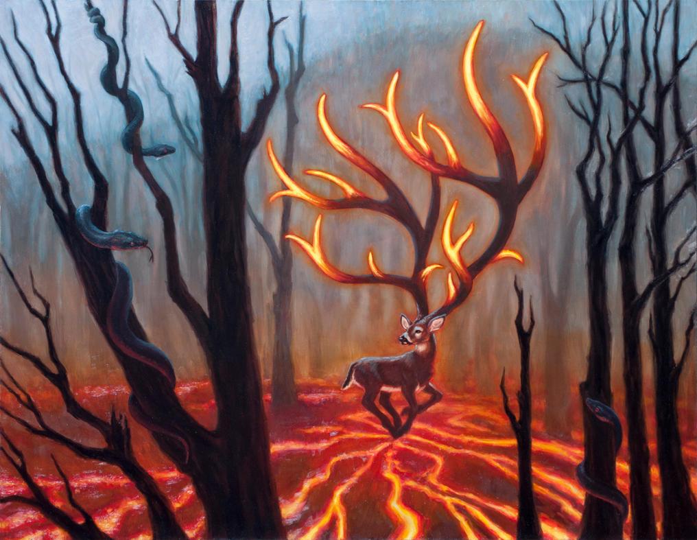 Fire Deer/Smoldering Antlers by Werewolfschreie