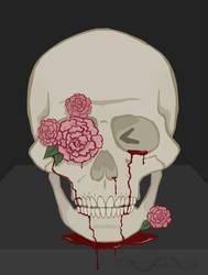 Skull and Flowers by Cornsnake88
