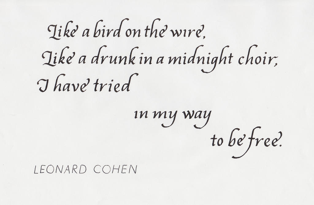 a literary analysis of bird on the wire by leonard cohen and guilty conscious by richard phoenix Bbc1 controller danny cohen said: with a high wire artist above the stadium recreating the cover image for the band but conscious of the night's tight.