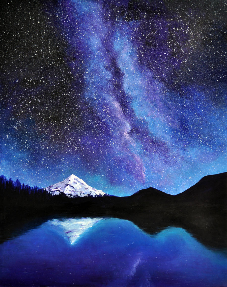mt hood and the milky way by crushtinbox on deviantart
