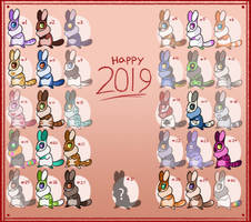 Chinchilla-rabbit New years adopts (15/31) OPEN by AltabetStudios