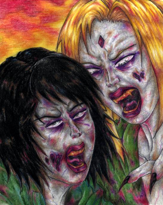 Zombie Tsunade and Shizune by Jokerisdaking