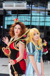 Alice and Queen of Hearts cosplays by Morgawze