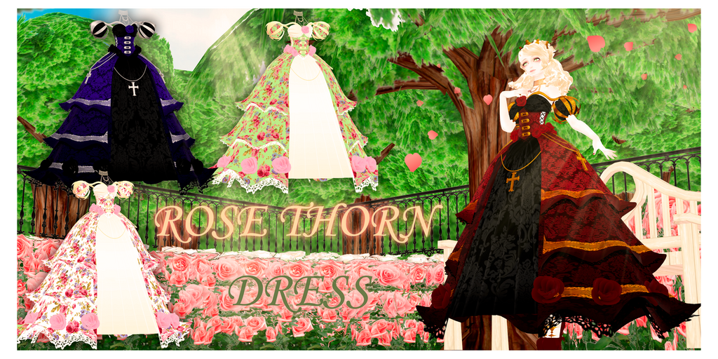 DL : A rose thorn dress (MMD download) by HoshichoM