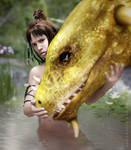 Cleopatra Dragon Rider-Afternoon Swim by Slofkosky