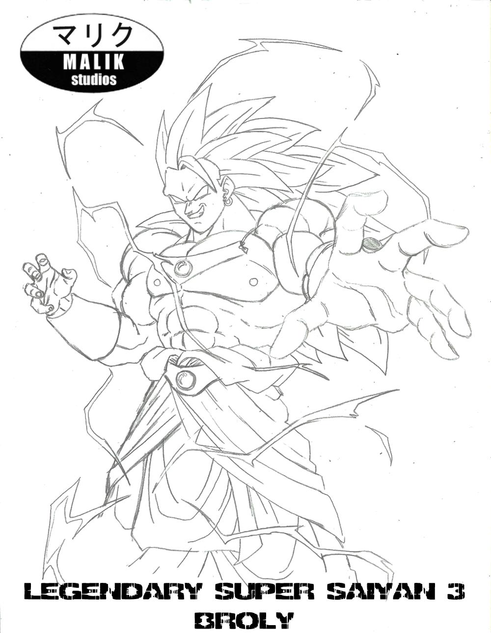 Character Sketch - LSSJ3 Broly by MalikStudios