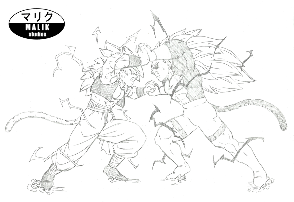 SSJ4 Gogeta Vs -new- SSJ5 Rigor Sketch By MalikStudios On