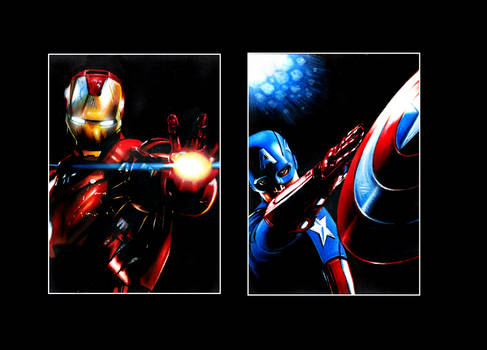 Iron Man and Captain America ACEO sketch cards