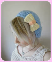 Baby Blue Beret with White and Pink Bow by Ashler-Sauce