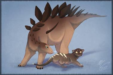 [Paleovember] Kentrosaurus + Thylacoleo by Flora-Tea