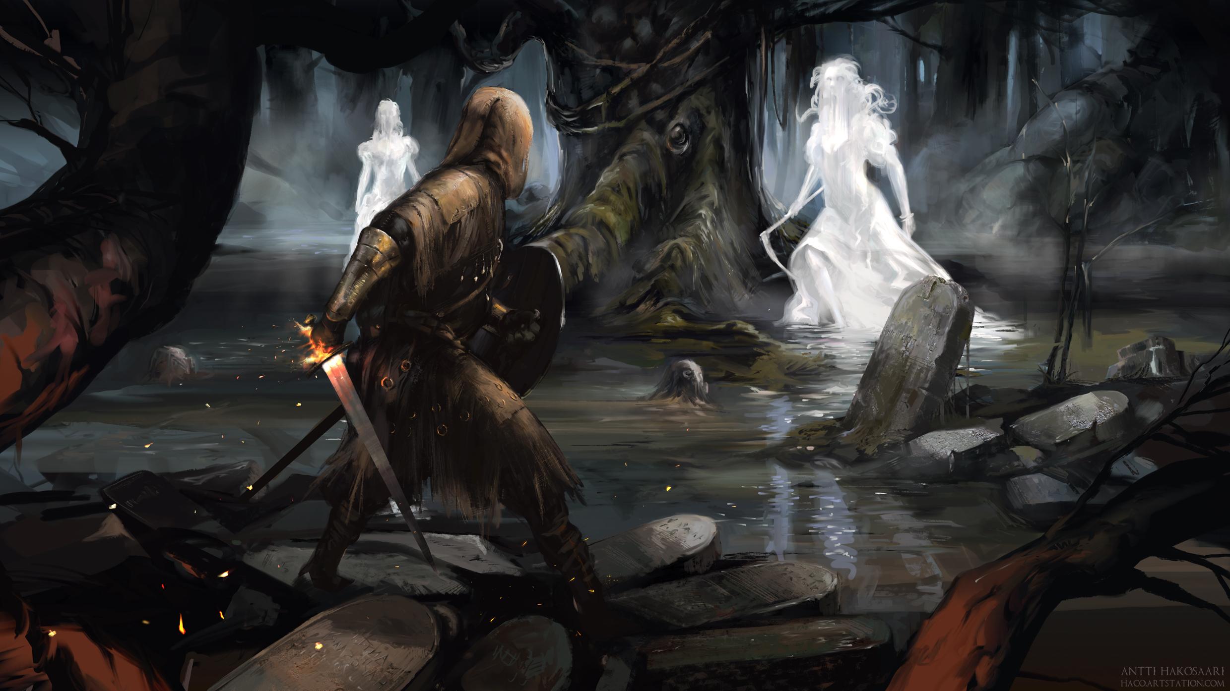 how to kill ghosts dark souls new londo