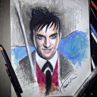 Stylized drawing of RobinLordTaylor as The Penguin