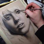 Lady Gaga portrait dry-brush oil painting *wip*
