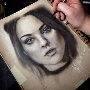 Mila Kunis dry brush portrait finished