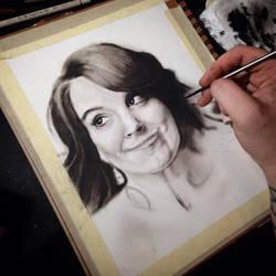 Start of my Tina Fey dry brush portrait
