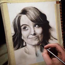 Progress on Tina Fey dry brush portrait