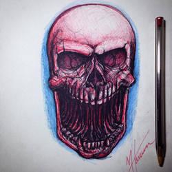 Ballpoint pen skull sketch