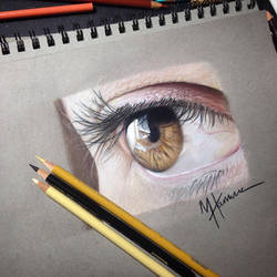 Color pencil eye drawing done paper started giving