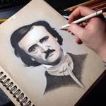 W.I.P. color pencil drawing of Edgar Allan Poe