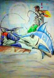 Big , Tengu and the Blue Marlin by Dan-Habiki