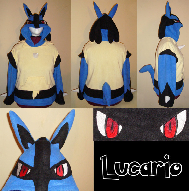 Lucario Pokemon hoodie cosplay by Bahzi