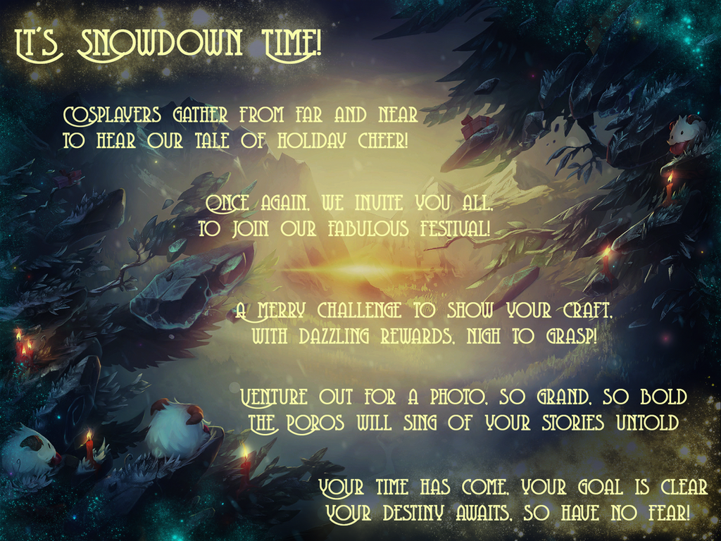 COSPLAY CONTEST SNOWDOWN SHOWDOWN POEM! by Alelamon