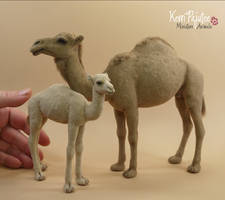 Miniature 1:12 scale Arabian Camel and Calf by Pajutee