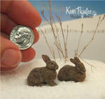 Miniature 1:12 Cottontail rabbit sculptures