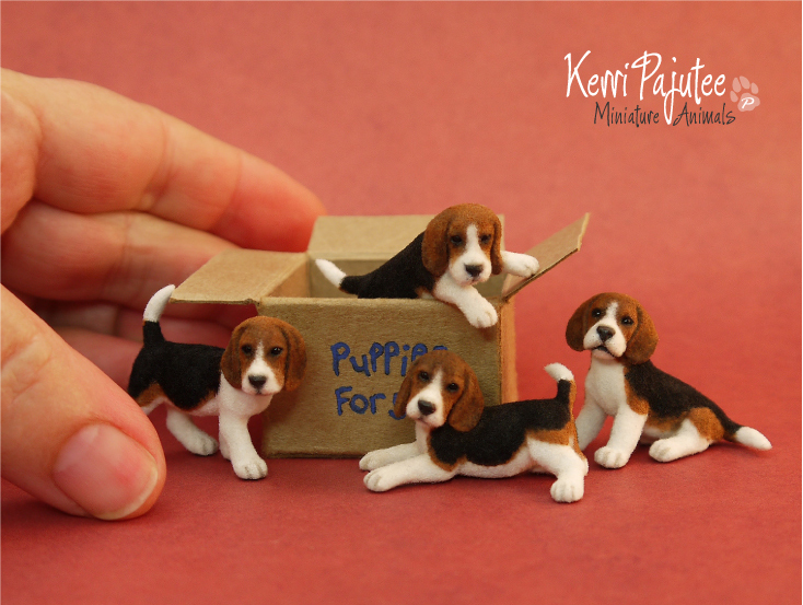Miniature 1:12 Beagle Puppies by Pajutee